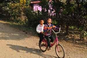 Laotian School Kids on the Road