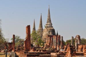 The Three White Pagodas of Ayutthaya