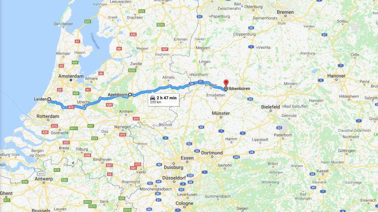 Map Leiden to Hanover